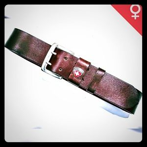 Post Card Brown Leather Belt Made in Italy Sz S